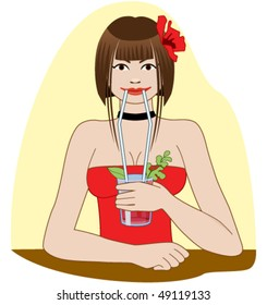 """Beautiful girl drinking cocktail """"Bloody Mary"""" through two straws."""