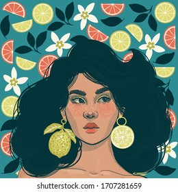beautiful girl with earrings in the form of juicy limes on the background of fresh citruses and flowers