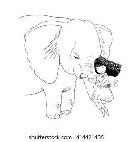 Beautiful girl and the elephant. Hand drawing isolated objects on white background. Vector illustration. Coloring book