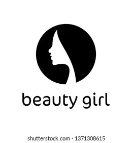 Beautiful girl face logo in isolated black white - clip art vector