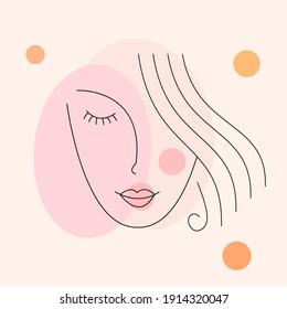 Beautiful girl face. Modern continuous line art woman portrait. Face line art. Face drawing. Contemporary portrait. minimalist contour. Vector illustration.