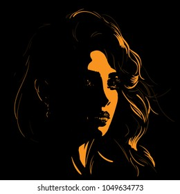 Beautiful girl face silhouette in backlight. Vector. Illustration.