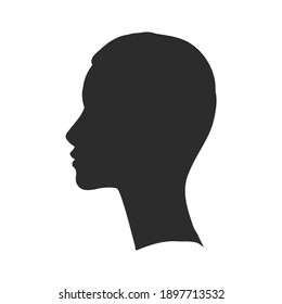 Beautiful Girl Face Silhouette, Vector illustration. girl profile vector sketch illustration