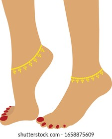 Beautiful girl feet with anklets vector