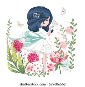 Beautiful girl in flower garden vector design.