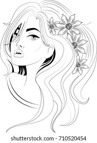 A beautiful girl with flowers in hair. Amazing artwork ideal for coloring.