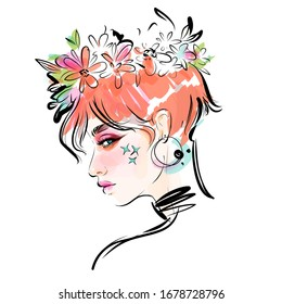 Beautiful girl with flowers wreath on her head vector drawing portrait. Fashion illustration.