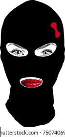beautiful girl in a fully covering face of a black mask with a small red bow