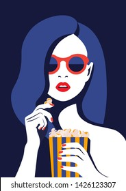 Beautiful girl in glasses eats popcorn and watches a movie. Portrait of a young woman with open mouth. Vector illustration in flat style