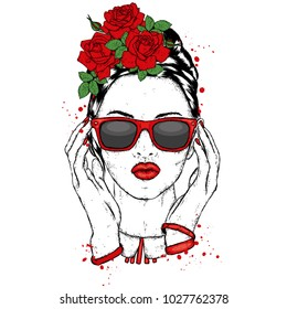 Beautiful girl with glasses and in a flower wreath. Vector illustration. Fashion & Style. Roses.
