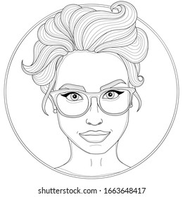 Beautiful girl with glasses and a hairstyle. Coloring book antistress for children and adults. Illustration isolated on white background.Zen-tangle  and doodle style. Black and white drawing