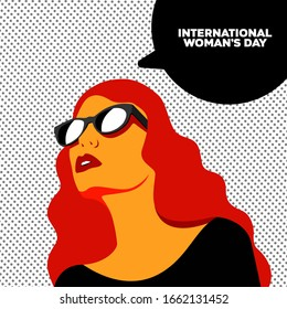 beautiful girl with glasses looks up. International Women's Day. vector illustration