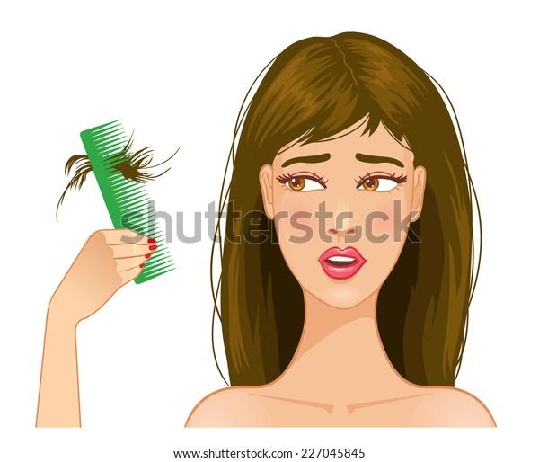 Beautiful girl with hair fall, eps10