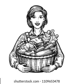Beautiful girl or happy farmer holding a wicker basket full of vegetables. Agriculture, horticulture, farm concept. Hand-drawn sketch vector illustration