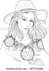 A beautiful girl in a hat, clothes in the style of a boho. Catcher dreams, feathers, leaves. Happy girl ideal for coloring.