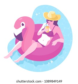 Beautiful girl in hat with cocktail floating on inflatable flamingo ring. Hello summer illustration. Relaxed young woman in a swimsuit. Summer colorful element for your design. Vector eps 10