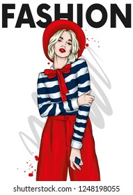 Beautiful girl in a hat, trousers and blouse. Fashion and style, clothing and accessories. Vector illustration for greeting card or poster.