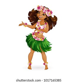 A beautiful girl in Hawaiian clothes dances Hula. Wreath and garland of flowers, a skirt of grass. Holidays in the Hawaiian Islands. Vector illustration. Funny character in the style of a cartoon