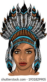 Beautiful girl in a headdress of North American Indians.