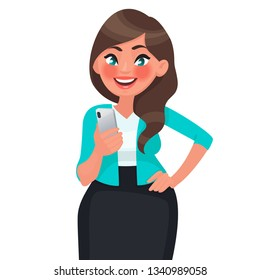 Beautiful girl holding smartphone in her hands. People and gadgets. Communication in social networks. Vector illustration in cartoon style