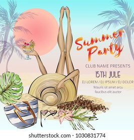 Beautiful girl with with ice cream relax on the beach, hello summer beach party banner with woman, sea background with palm and sunset, invitation to nightclub, hand drawn vector illustration art