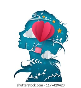 Beautiful girl illustration. Cartoon paper air balloon. Vector eps 10.