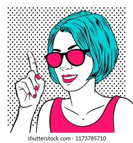 Beautiful girl with index finger. Retro pop art style. Cartoon vector illustration