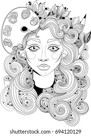 A beautiful girl with long curly  hair and accessories for drawing  Amazing artwork ideal for coloring.