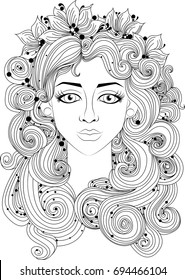 A beautiful girl with long curly hair. Amazing artwork ideal for coloring.