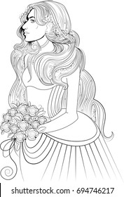 A beautiful girl with long curly hair and flowers. Amazing artwork ideal for coloring.