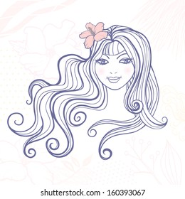 Beautiful girl with long curly hairs and a flower