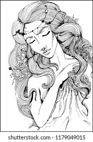 Beautiful girl with long hair, flowers in the hair for coloring books.