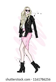 A beautiful girl with long hair in glasses, a jacket, a skirt and boots with heels. Vector illustration for a postcard or a poster, print for clothes. Fashion and Style. Fashionable look.