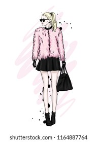 A beautiful girl with long hair in glasses, a fur coat, a skirt and boots with heels. Vector illustration for a postcard or a poster, print for clothes. Fashion and Style. Fashionable look.