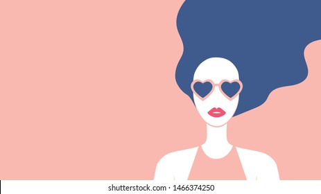 Beautiful girl with long hair and red lipstic wearing heart shaped sunglasses. Stylish young woman fashion poster. - Vector illustration