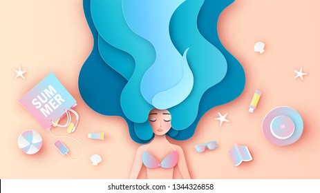 Beautiful girl with long hair wear a bikini, relaxing on the beach in summer. Graphic design for summer. paper cut and craft style. vector, illustration.