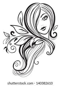 Beautiful girl with long hair.girl icon