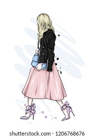 Beautiful girl in a long skirt, leather jacket and high-heeled shoes. Vector illustration for greeting card or poster, print on clothes. Fashion and style, clothing and accessories.