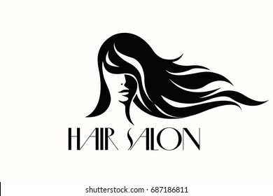 Beautiful girl with long, wavy hair. Hair salon vector icon isolated on white background.