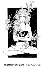 Beautiful girl meditates in yoga pose. Vector hand drawn inked illustration isolated on white background. T-Shirt Design and Printing, clothes, bags, posters, invitations, cards, tattoo etc.