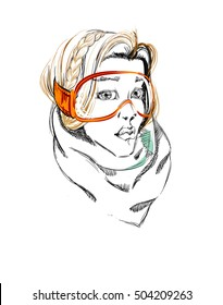 Beautiful Girl with Milkmaid Hairstyle and Ski Glasses. Freehand Vector Illustration.