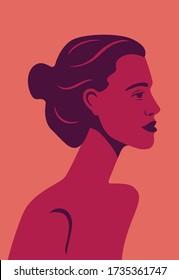 beautiful girl model in profile on red