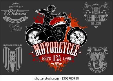 Beautiful girl on a motorcycle draw in retro style on dark background.