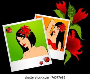 Beautiful girl on a summer beach in photo frames. Vector