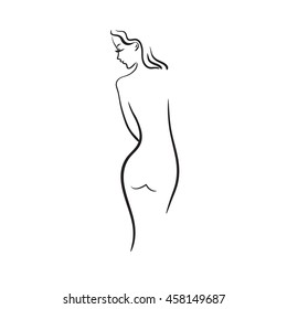Beautiful girl on a white background. Sketch of woman. Vector illustration.