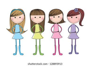 Beautiful girl over white background vector illustration