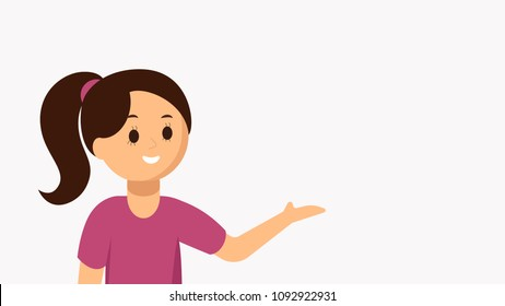Beautiful girl pointing at something. Banner, advertisement, landing page template. Girl recommends, advise your product. Place for your text or object. Vector flat, cartoon illustration.