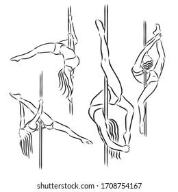 Beautiful girl , pole dance , dancer , sketch, vector on a white background. pole dancing vector sketch illustration