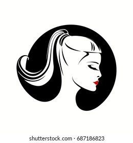 Beautiful girl with ponytail hairstyle and red lipstick. Cosmetics and beauty circular vector icon isolated on white background.