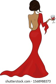beautiful girl in a red dress with a glass of wine